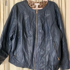 Charter Club navy and gold faux leather jacket